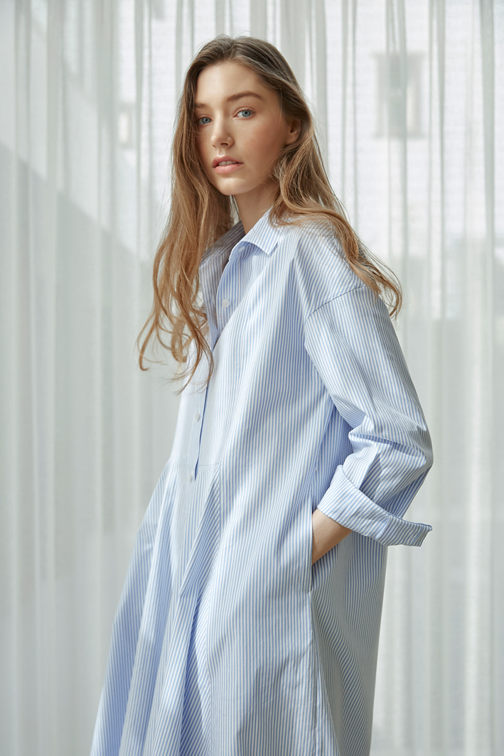 Stripe Shirt Dress with Flared-front (2 colors)