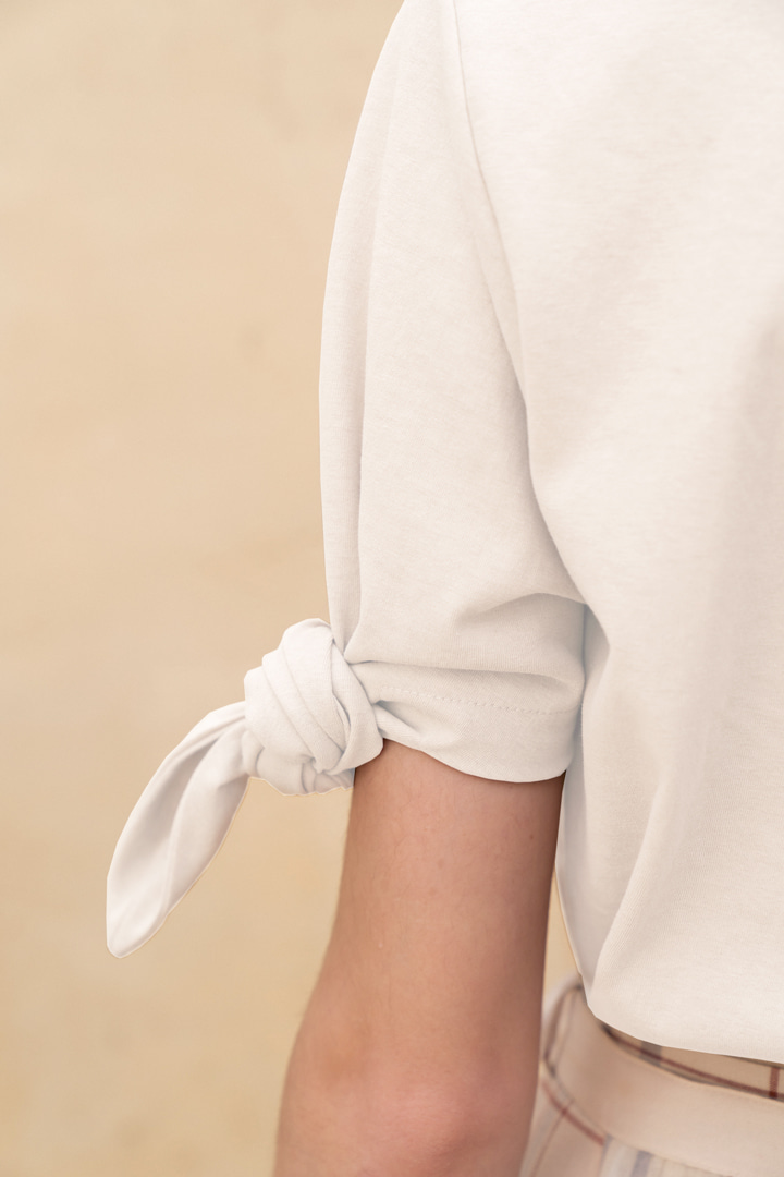Cotton T-shirt with Sleeve Knot (3 colors)