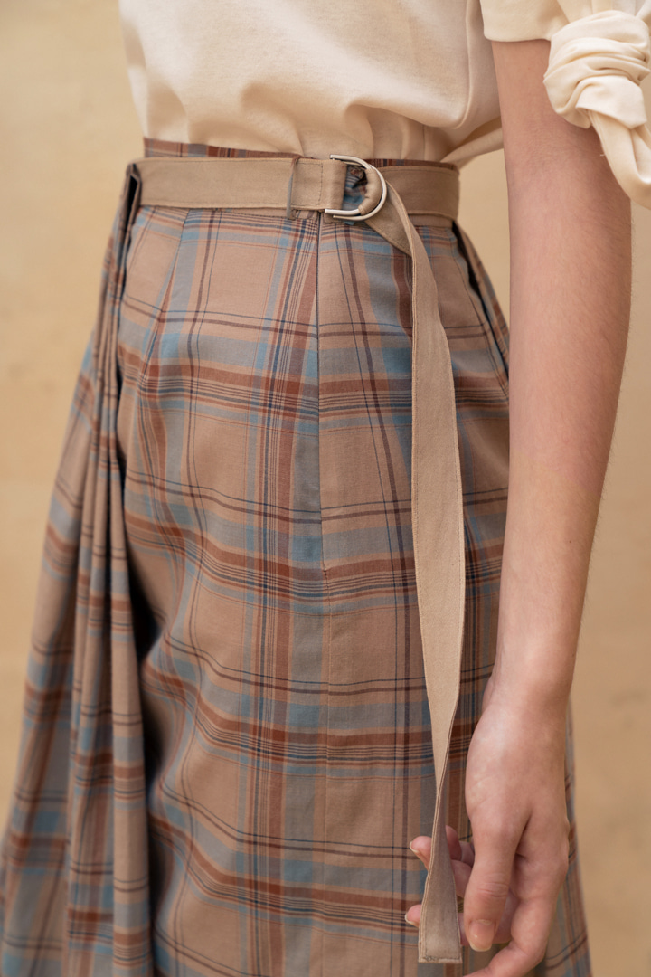 Checked Cotton Drape Skirt (2 colors)