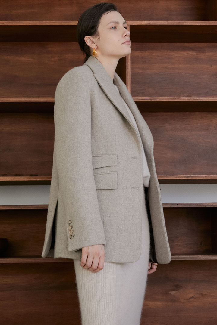 Numero 069: Asymmetric Pockets Wool Jacket (Oatmeal)
