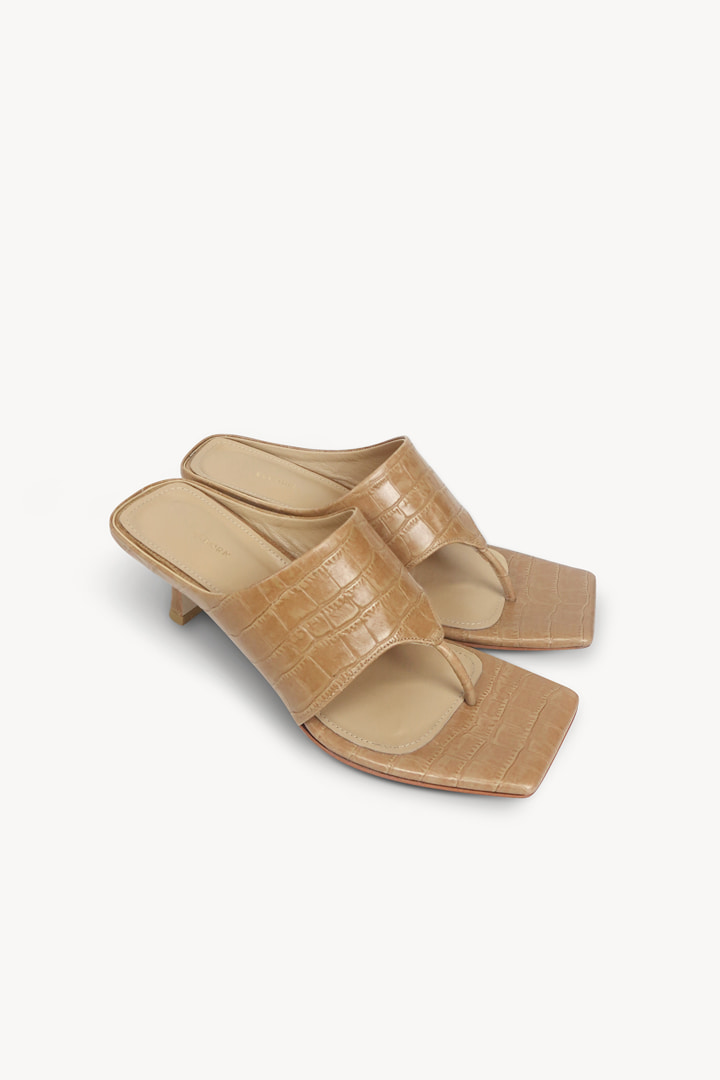 Croc-effect Leather Mules - Coffee Beige