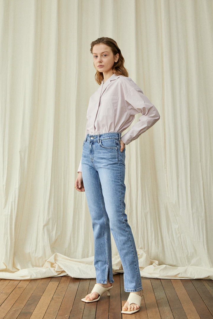 Side Slit Long Denim Pants