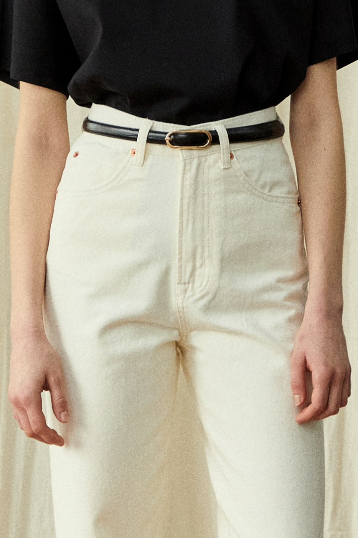 Le Garçon Straight Denim Pants - Ivory