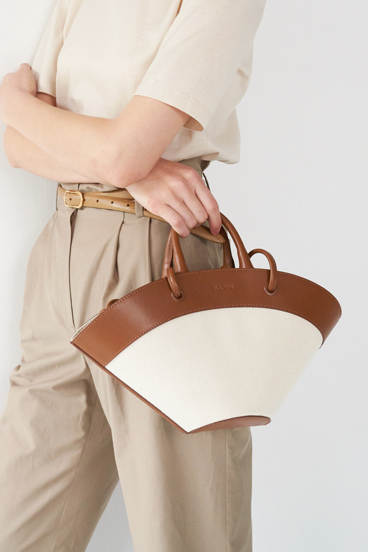 Two-way Leather-trimmed canvas Bag (Small)