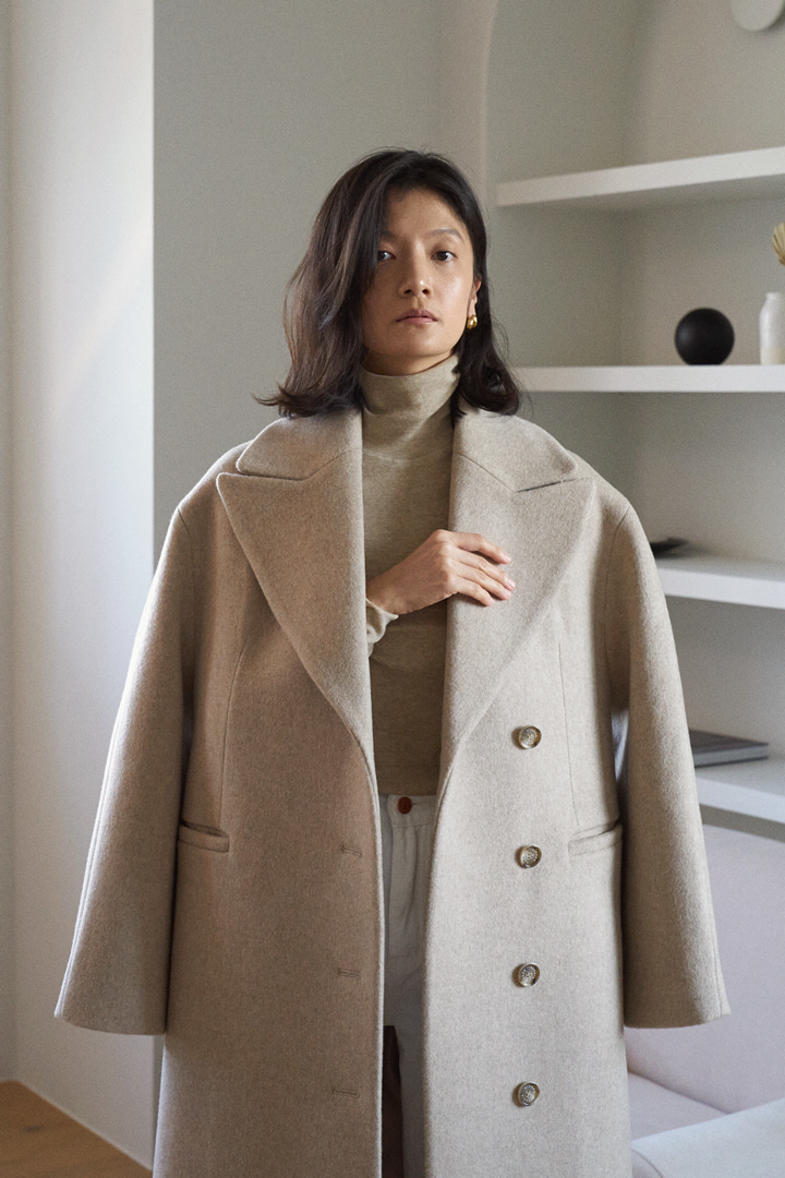 Numero 094: Double Breasted Long Coat (Melange Brown)