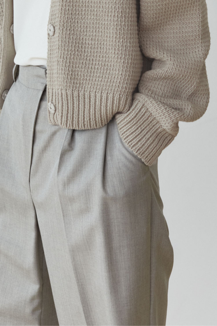 Numero 102: Wide-legged Wool Slacks (Stone Beige)