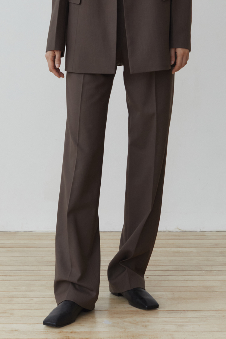 Numero 100: Classic Wool Blend Trousers (Set-up) (Ash Brown)