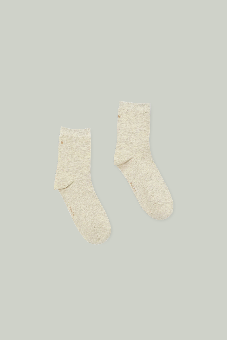 Heart Ankle Socks (Oatmeal)