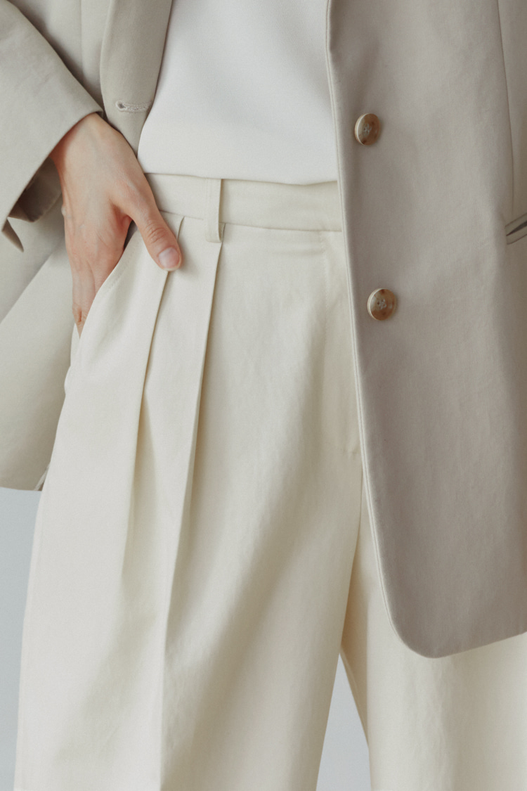 [Pre-order] Tencel-Cotton Wide Pants (Ivory)