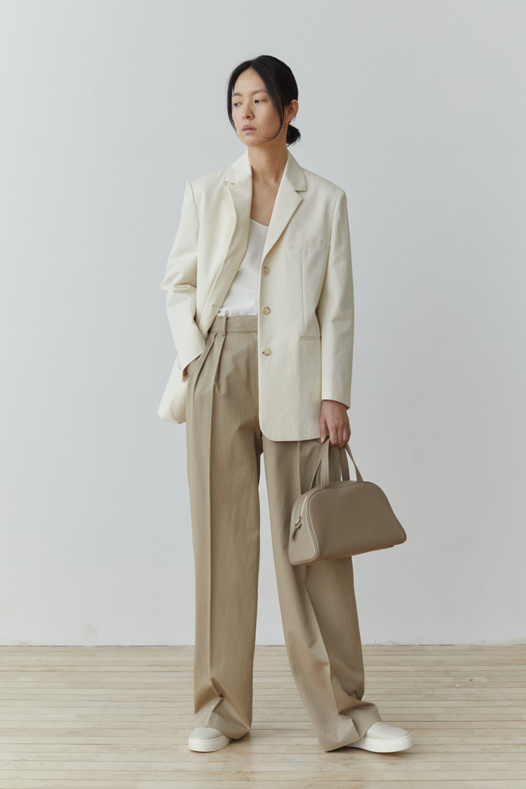 [Pre-order] Tencel-Cotton Wide Pants (Beige)
