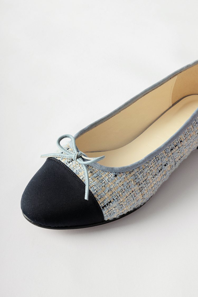 Julienne Flat Shoes (Baby Blue Tweed)