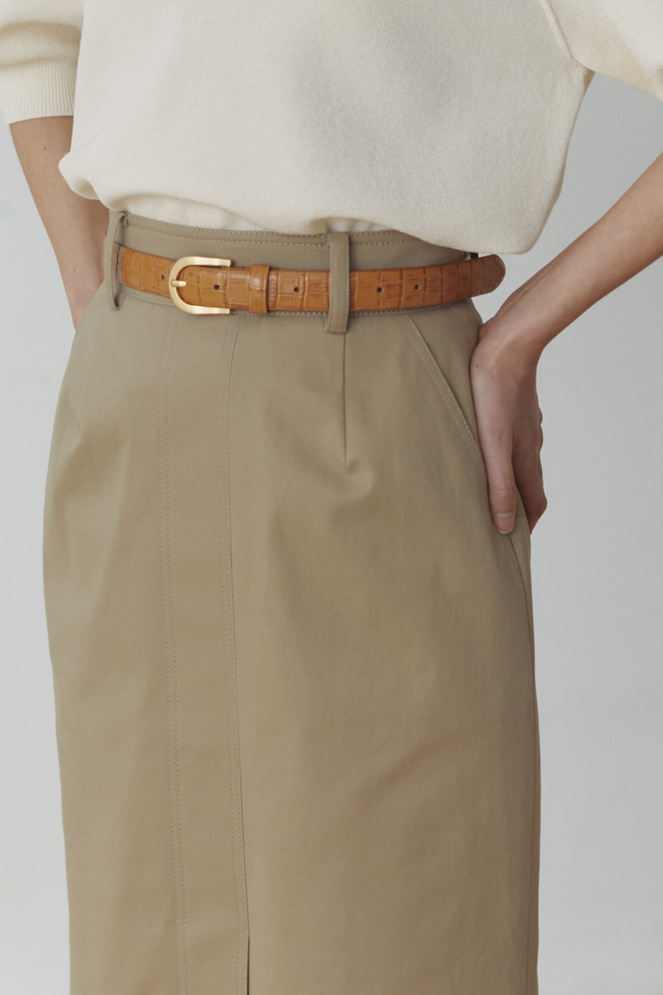 [Pre-order] High-rise Cotton Skirt (Deep Beige)