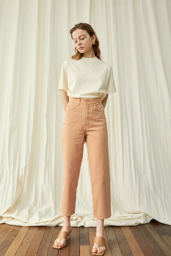 Le Garçon Straight Denim Pants - Pale orange