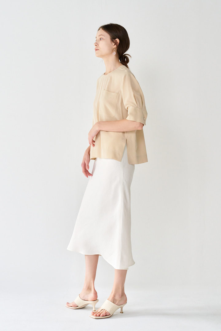 Semi-flared Linen Skirt (3 colors)