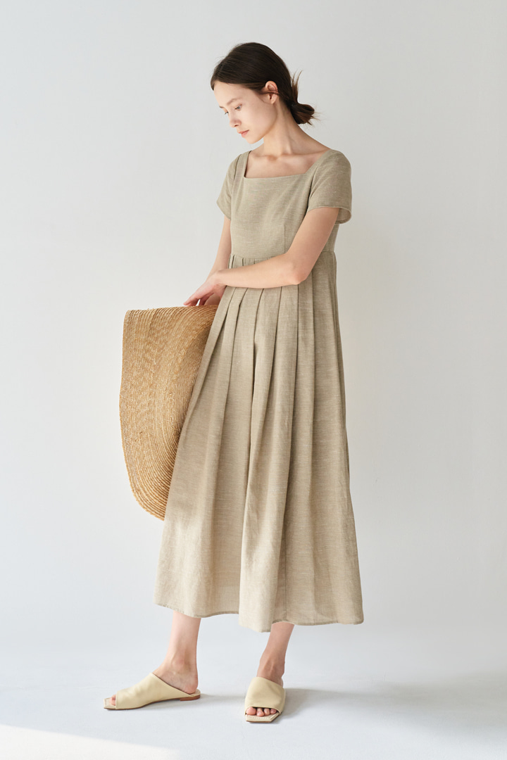 Square Neck Empire-waist Dress