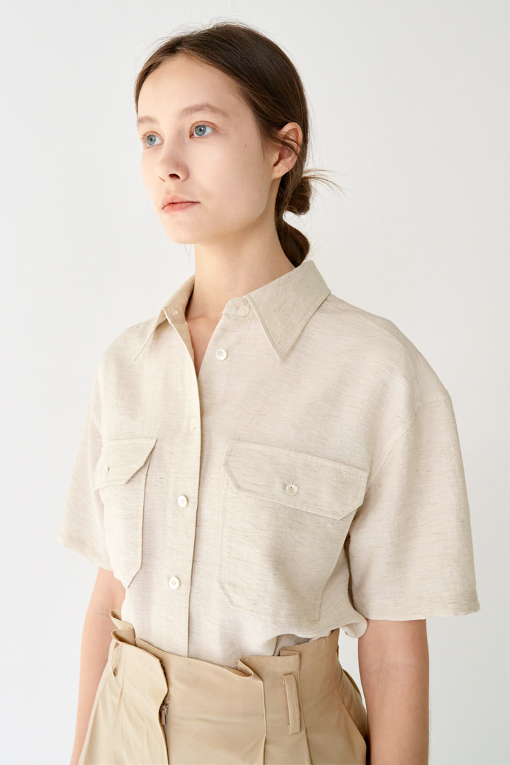 Big Pocket Linen-blend Shirt (2 colors)