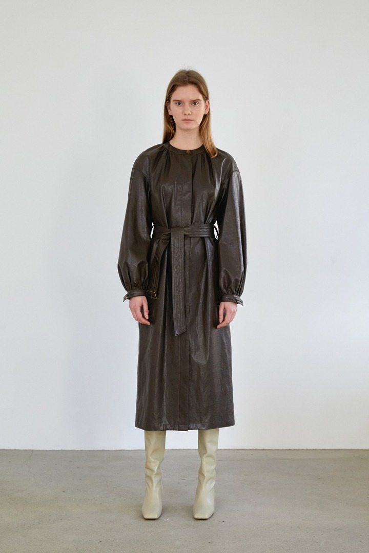 Numero 091: Faux Leather Shirring Dress Coat (Dark Brown)