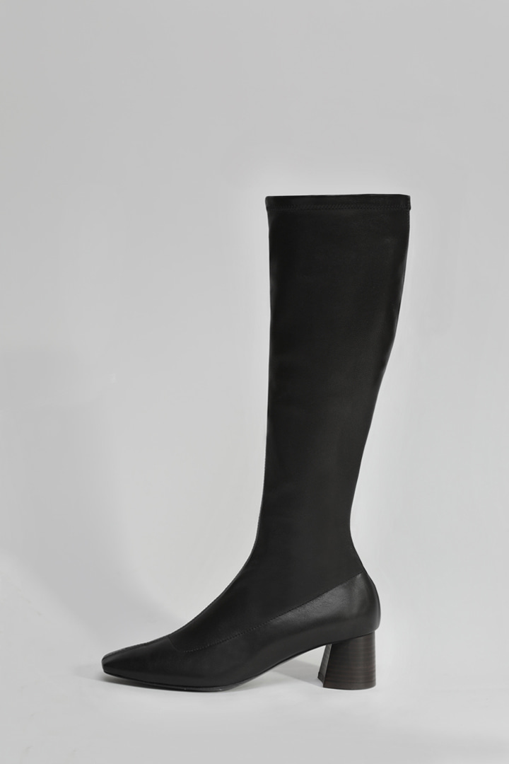 Italy Lambskin Square Span Boots - Long (2 colors)