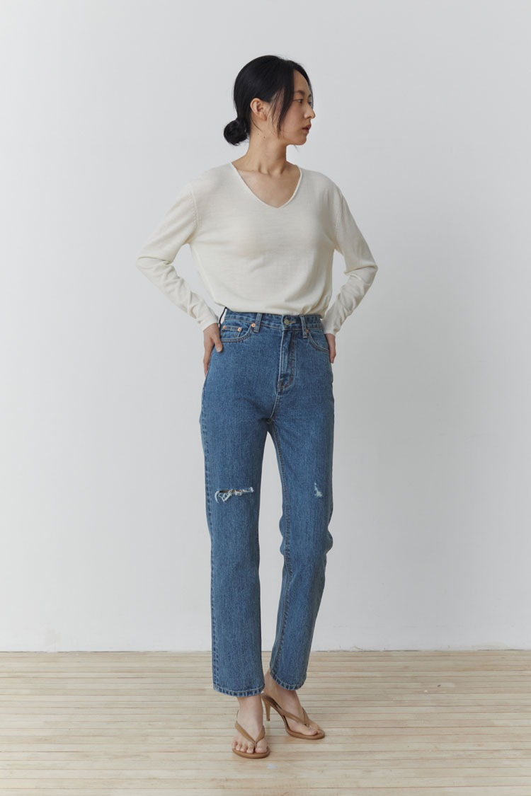 Mid Destroyed Denim Pants (Medium Blue)