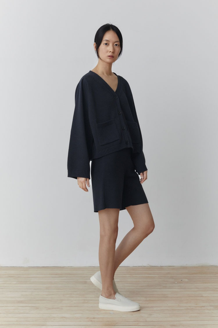[Pre-order] Knit Cardigan + Shorts Set (Navy)