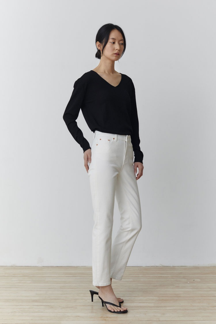Laey Straight Denim Pants (Ivory)