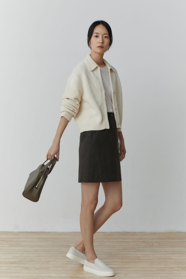 Top Stitched Wool Skirt (Mini/Midi)