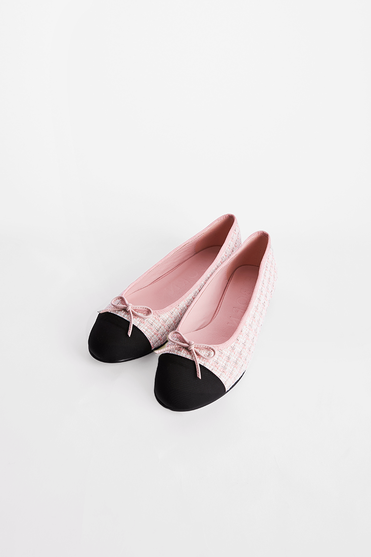 Julienne Flat Shoes (Blush Pink Tweed)